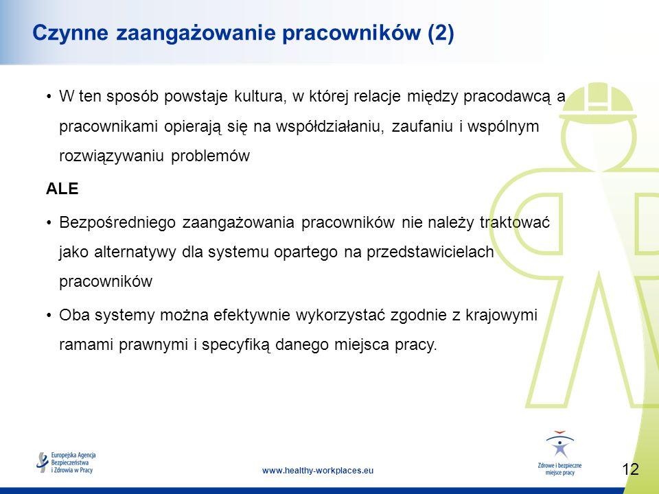 12 www.healthy-workplaces.eu Czynne zaangażowanie pracowników (2) W ten sposób powstaje kultura, w której relacje między pracodawcą a pracownikami opierają się na współdziałaniu, zaufaniu i wspólnym rozwiązywaniu problemów ALE Bezpośredniego zaangażowania pracowników nie należy traktować jako alternatywy dla systemu opartego na przedstawicielach pracowników Oba systemy można efektywnie wykorzystać zgodnie z krajowymi ramami prawnymi i specyfiką danego miejsca pracy.