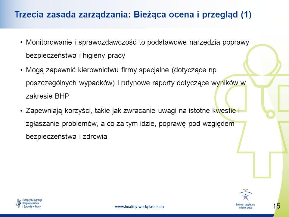 15 www.healthy-workplaces.eu Trzecia zasada zarządzania: Bieżąca ocena i przegląd (1) Monitorowanie i sprawozdawczość to podstawowe narzędzia poprawy bezpieczeństwa i higieny pracy Mogą zapewnić kierownictwu firmy specjalne (dotyczące np.