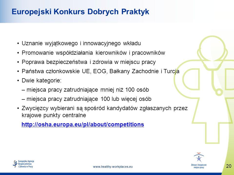 www.healthy-workplaces.eu Uznanie wyjątkowego i innowacyjnego wkładu Promowanie współdziałania kierowników i pracowników Poprawa bezpieczeństwa i zdrowia w miejscu pracy Państwa członkowskie UE, EOG, Bałkany Zachodnie i Turcja Dwie kategorie: – miejsca pracy zatrudniające mniej niż 100 osób – miejsca pracy zatrudniające 100 lub więcej osób Zwycięzcy wybierani są spośród kandydatów zgłaszanych przez krajowe punkty centralne http://osha.europa.eu/pl/about/competitions 20 Europejski Konkurs Dobrych Praktyk