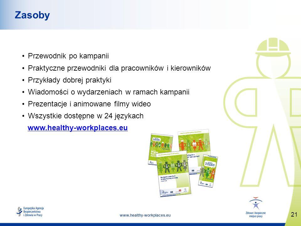 www.healthy-workplaces.eu Przewodnik po kampanii Praktyczne przewodniki dla pracowników i kierowników Przykłady dobrej praktyki Wiadomości o wydarzeniach w ramach kampanii Prezentacje i animowane filmy wideo Wszystkie dostępne w 24 językach www.healthy-workplaces.eu 21 Zasoby