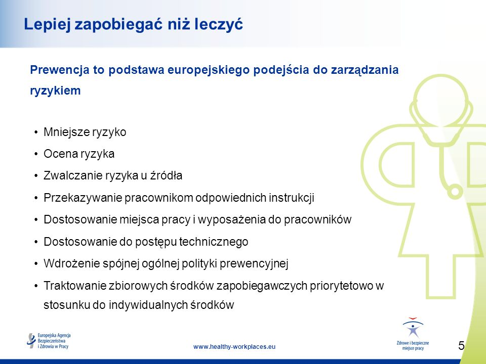 5 www.healthy-workplaces.eu Lepiej zapobiegać niż leczyć Prewencja to podstawa europejskiego podejścia do zarządzania ryzykiem Mniejsze ryzyko Ocena ryzyka Zwalczanie ryzyka u źródła Przekazywanie pracownikom odpowiednich instrukcji Dostosowanie miejsca pracy i wyposażenia do pracowników Dostosowanie do postępu technicznego Wdrożenie spójnej ogólnej polityki prewencyjnej Traktowanie zbiorowych środków zapobiegawczych priorytetowo w stosunku do indywidualnych środków