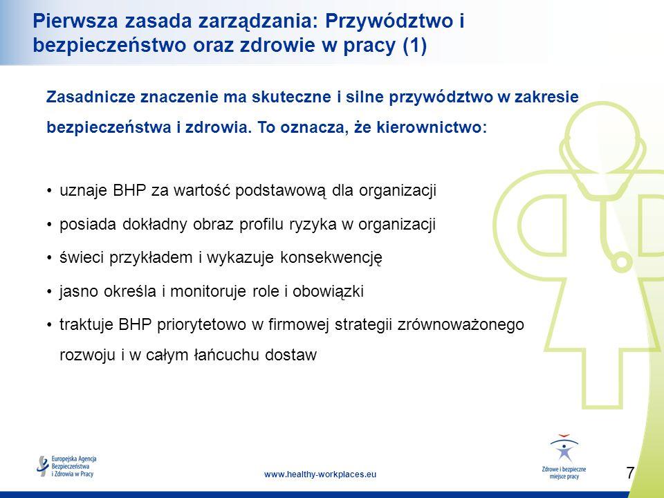 7 www.healthy-workplaces.eu Pierwsza zasada zarządzania: Przywództwo i bezpieczeństwo oraz zdrowie w pracy (1) Zasadnicze znaczenie ma skuteczne i silne przywództwo w zakresie bezpieczeństwa i zdrowia.