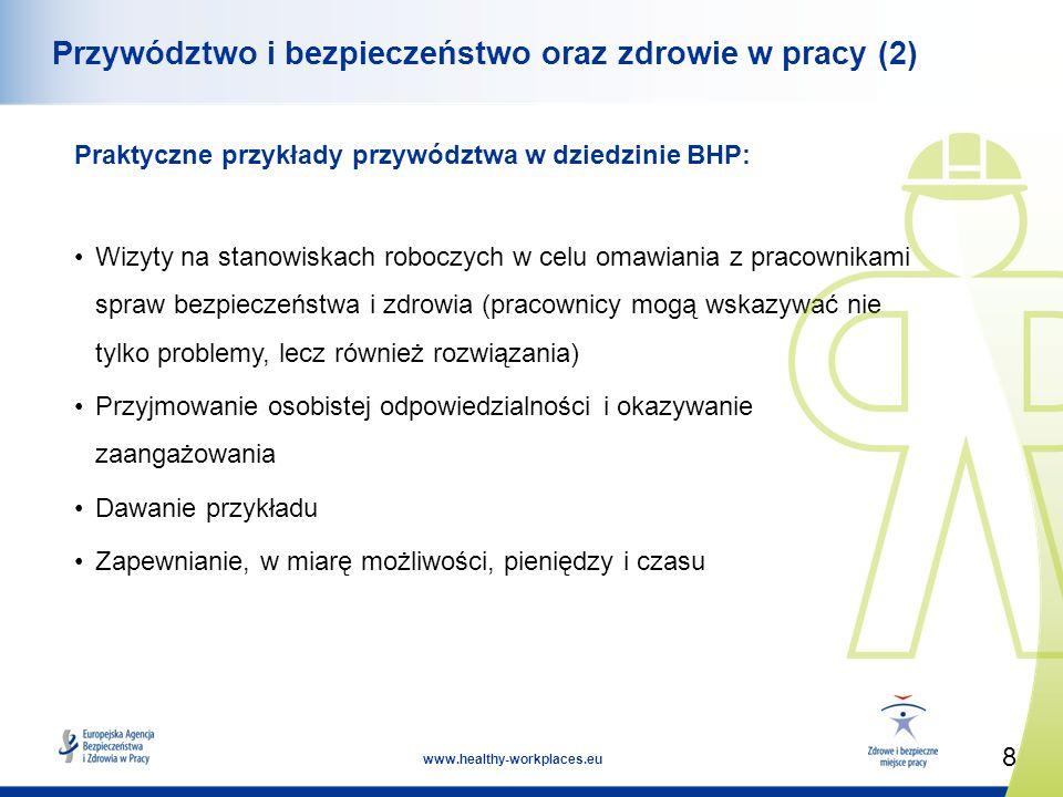 8 www.healthy-workplaces.eu Przywództwo i bezpieczeństwo oraz zdrowie w pracy (2) Praktyczne przykłady przywództwa w dziedzinie BHP: Wizyty na stanowiskach roboczych w celu omawiania z pracownikami spraw bezpieczeństwa i zdrowia (pracownicy mogą wskazywać nie tylko problemy, lecz również rozwiązania) Przyjmowanie osobistej odpowiedzialności i okazywanie zaangażowania Dawanie przykładu Zapewnianie, w miarę możliwości, pieniędzy i czasu