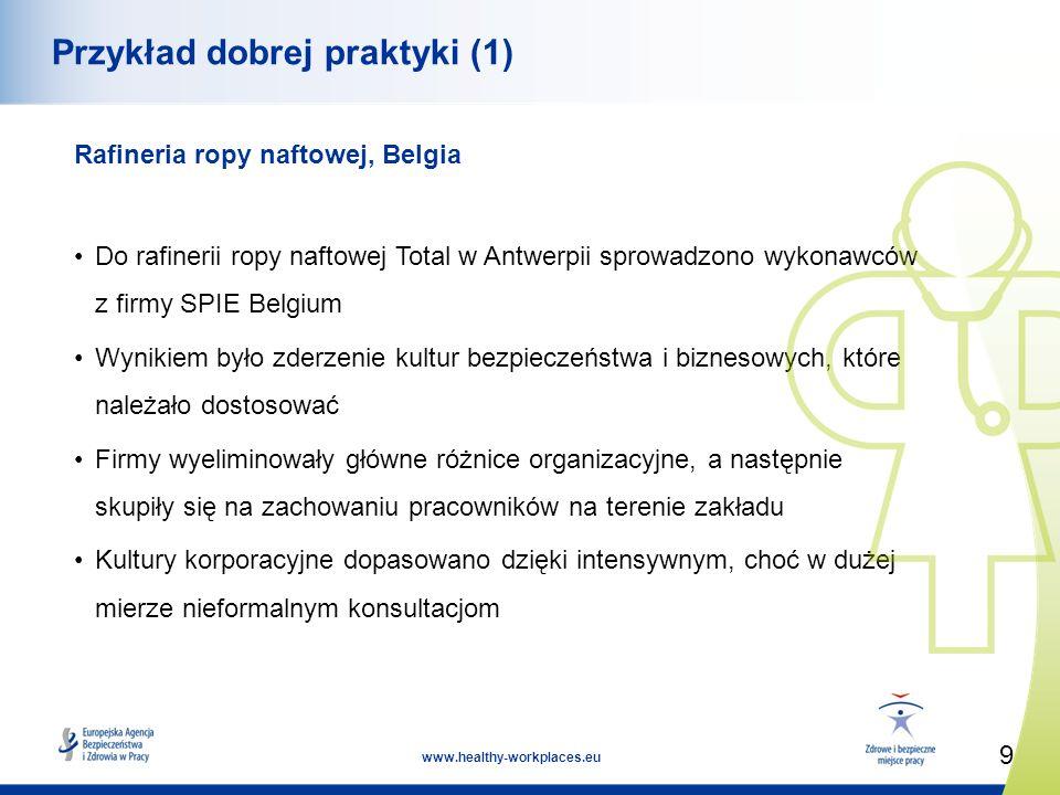 9 www.healthy-workplaces.eu Przykład dobrej praktyki (1) Rafineria ropy naftowej, Belgia Do rafinerii ropy naftowej Total w Antwerpii sprowadzono wyko