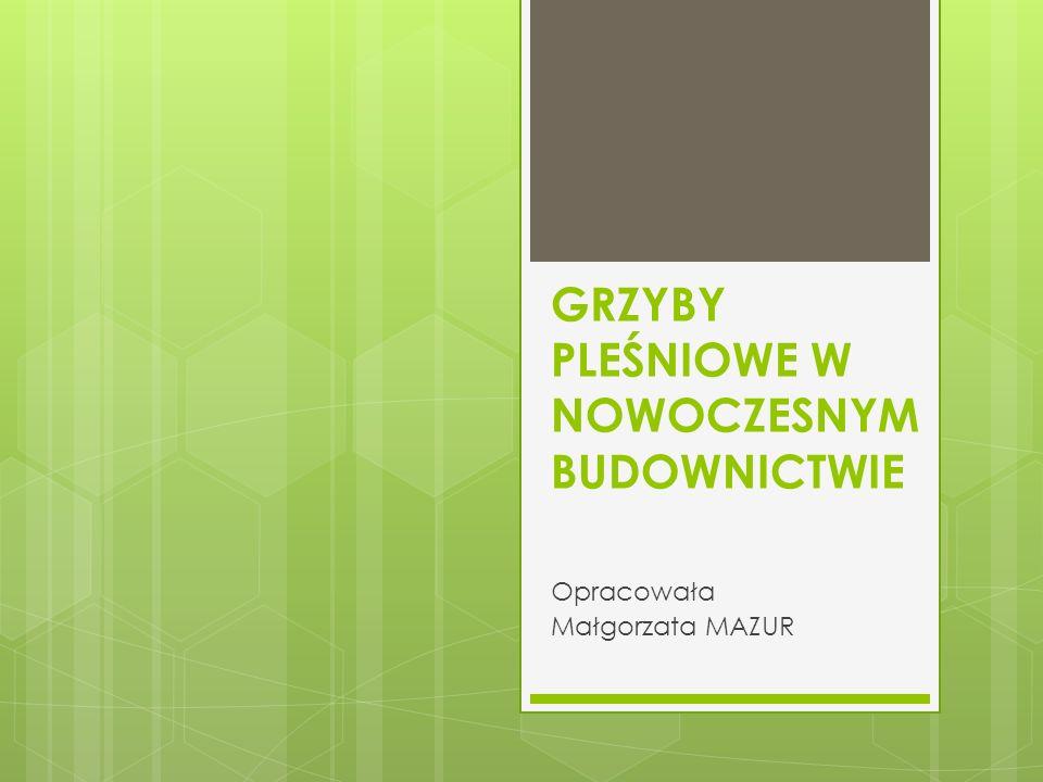 GRZYBY PLEŚNIOWE W NOWOCZESNYM BUDOWNICTWIE Opracowała Małgorzata MAZUR