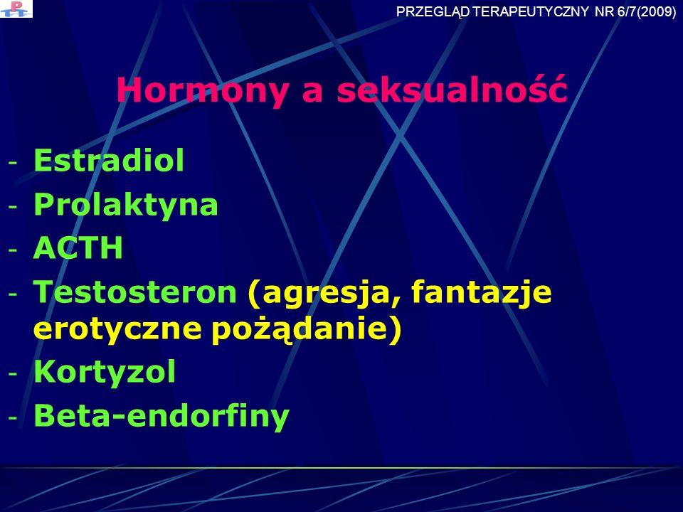 Hormony a seksualność - Estradiol - Prolaktyna - ACTH - Testosteron (agresja, fantazje erotyczne pożądanie) - Kortyzol - Beta-endorfiny PRZEGLĄD TERAPEUTYCZNY NR 6/7(2009)