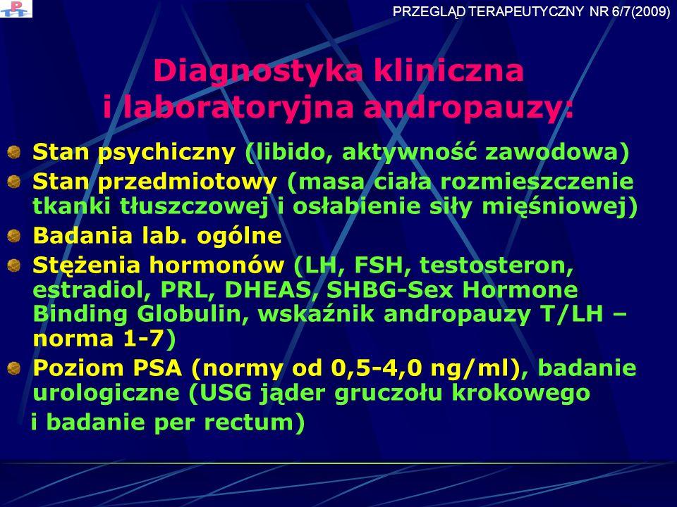 Diagnostyka kliniczna i laboratoryjna andropauzy: Stan psychiczny (libido, aktywność zawodowa) Stan przedmiotowy (masa ciała rozmieszczenie tkanki tłuszczowej i osłabienie siły mięśniowej) Badania lab.