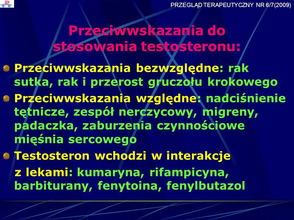 Przeciwwskazania do stosowania testosteronu: Przeciwwskazania bezwzględne: rak sutka, rak i przerost gruczołu krokowego Przeciwwskazania względne: nadciśnienie tętnicze, zespół nerczycowy, migreny, padaczka, zaburzenia czynnościowe mięśnia sercowego Testosteron wchodzi w interakcje z lekami: kumaryna, rifampicyna, barbiturany, fenytoina, fenylbutazol PRZEGLĄD TERAPEUTYCZNY NR 6/7(2009)
