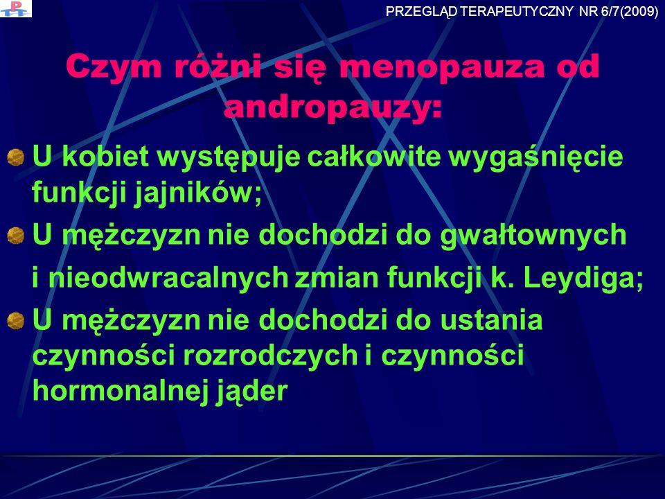 Czym różni się menopauza od andropauzy: U kobiet występuje całkowite wygaśnięcie funkcji jajników; U mężczyzn nie dochodzi do gwałtownych i nieodwracalnych zmian funkcji k.