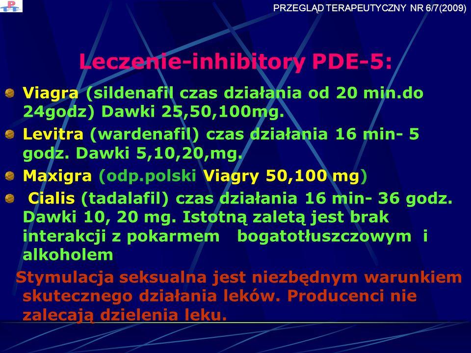 Leczenie-inhibitory PDE-5: Viagra (sildenafil czas działania od 20 min.do 24godz) Dawki 25,50,100mg.