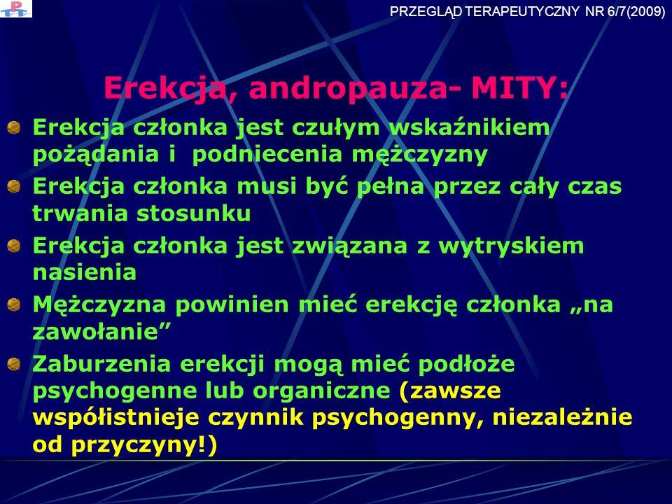 Erekcja, andropauza- MITY: Erekcja członka jest czułym wskaźnikiem pożądania i podniecenia mężczyzny Erekcja członka musi być pełna przez cały czas trwania stosunku Erekcja członka jest związana z wytryskiem nasienia Mężczyzna powinien mieć erekcję członka na zawołanie Zaburzenia erekcji mogą mieć podłoże psychogenne lub organiczne (zawsze współistnieje czynnik psychogenny, niezależnie od przyczyny!) PRZEGLĄD TERAPEUTYCZNY NR 6/7(2009)