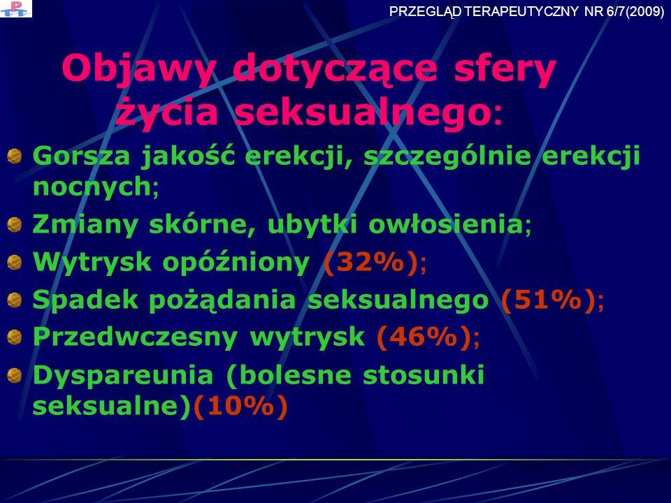 Objawy dotyczące sfery życia seksualnego : Gorsza jakość erekcji, szczególnie erekcji nocnych ; Zmiany skórne, ubytki owłosienia ; Wytrysk opóźniony (32%) ; Spadek pożądania seksualnego (51%) ; Przedwczesny wytrysk (46%) ; Dyspareunia (bolesne stosunki seksualne)(10%) PRZEGLĄD TERAPEUTYCZNY NR 6/7(2009)