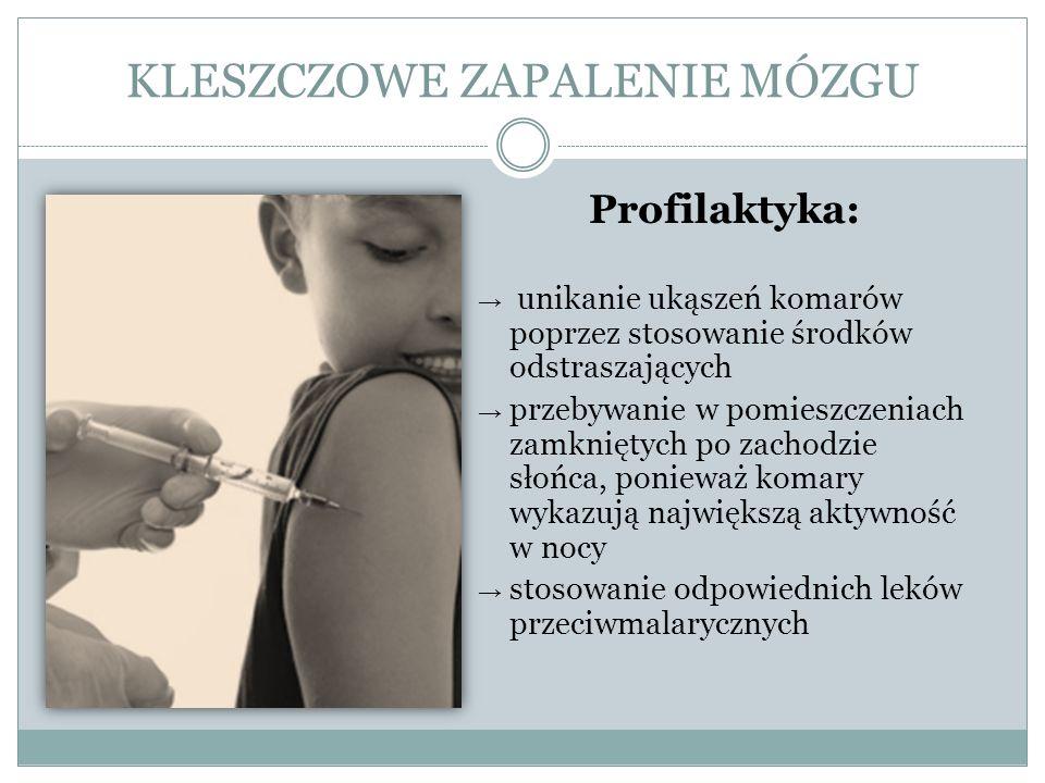 KLESZCZOWE ZAPALENIE MÓZGU Profilaktyka: unikanie ukąszeń komarów poprzez stosowanie środków odstraszających przebywanie w pomieszczeniach zamkniętych