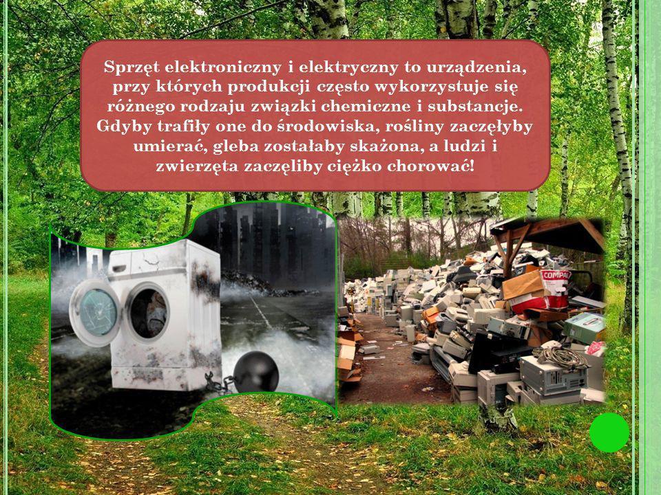 TelewizoryLodówkiKomputery Świetlówki Arsen, ołów, kadm, chrom, rtęć powodują silne właściwości trujące, mutogenne i rakotwórcze.
