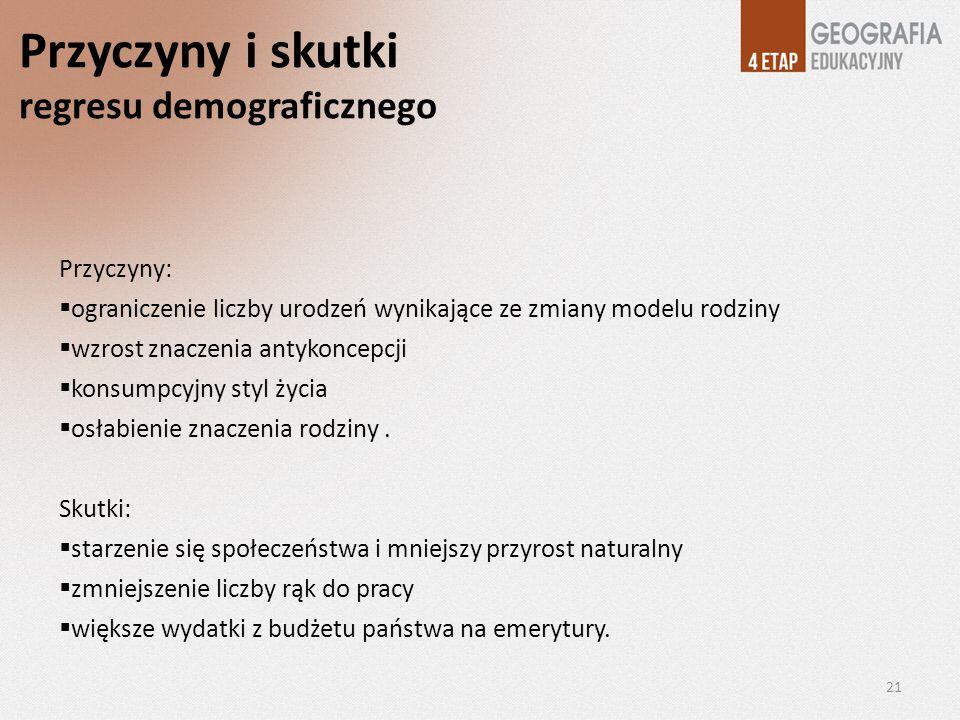 Przyczyny i skutki regresu demograficznego Przyczyny: ograniczenie liczby urodzeń wynikające ze zmiany modelu rodziny wzrost znaczenia antykoncepcji k