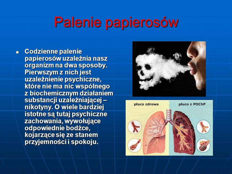 Palenie papierosów Codzienne palenie papierosów uzależnia nasz organizm na dwa sposoby. Pierwszym z nich jest uzależnienie psychiczne, które nie ma ni