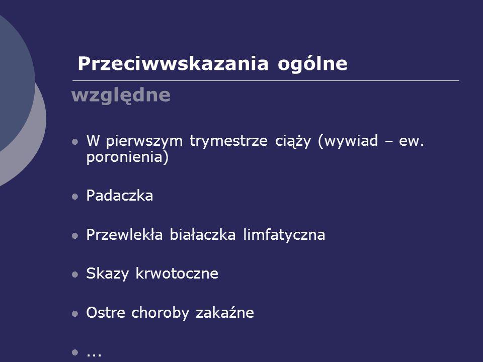 Przeciwwskazania ogólne względne W pierwszym trymestrze ciąży (wywiad – ew.