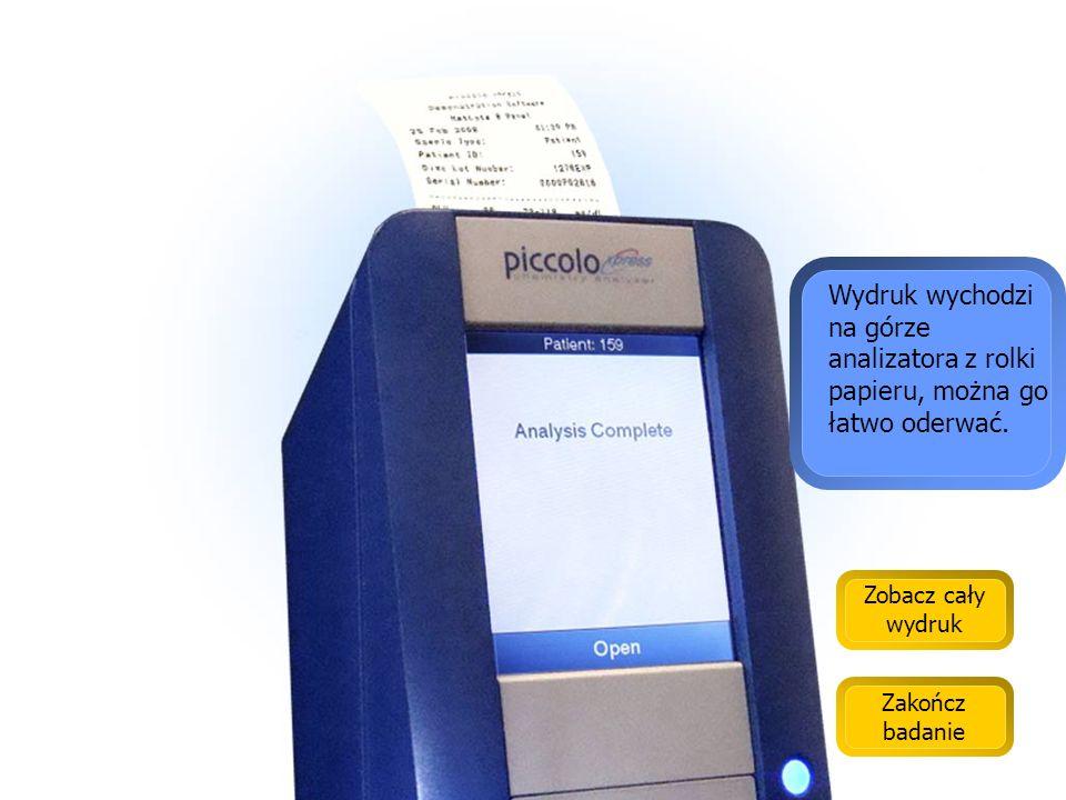 Wydruk na papierze samoprzylepnym pozwala łatwo dołączyć wyniki do kartoteki pacjenta.
