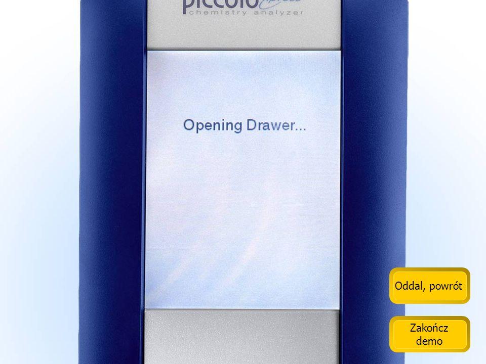 Oddal, powrót Zakończ demo Na ekranie dotykowym Piccolo umieszczono duże ikony.
