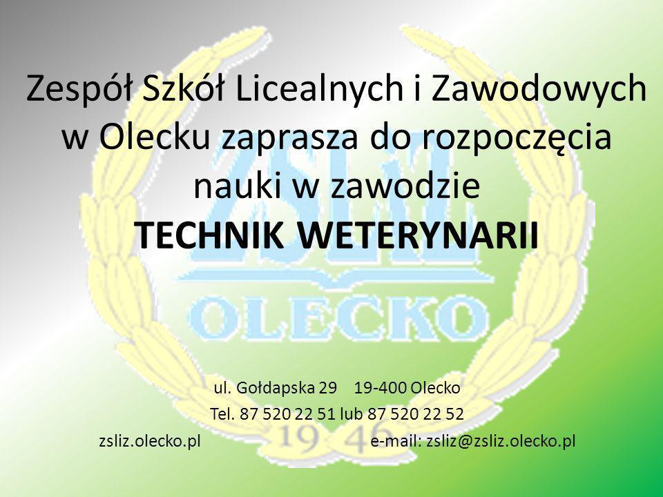 Zespół Szkół Licealnych i Zawodowych w Olecku zaprasza do rozpoczęcia nauki w zawodzie TECHNIK WETERYNARII ul. Gołdapska 29 19-400 Olecko Tel. 87 520