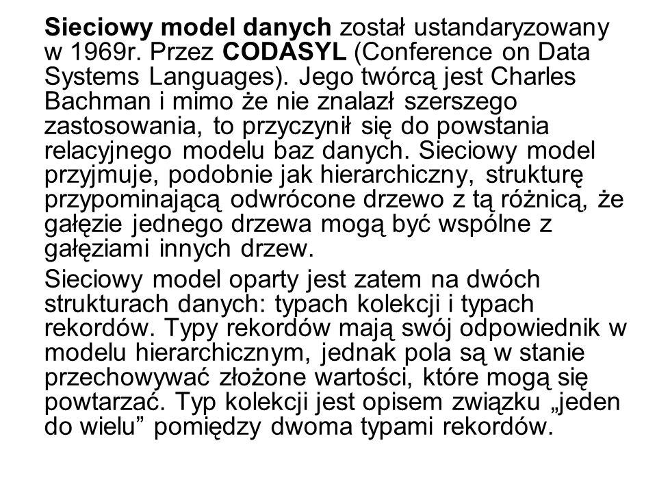 Sieciowy model danych został ustandaryzowany w 1969r. Przez CODASYL (Conference on Data Systems Languages). Jego twórcą jest Charles Bachman i mimo że