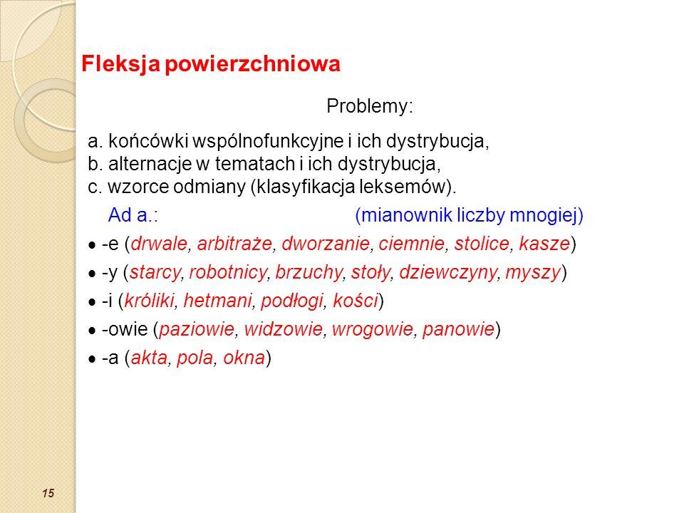 15 Problemy: a. końcówki wspólnofunkcyjne i ich dystrybucja, b. alternacje w tematach i ich dystrybucja, c. wzorce odmiany (klasyfikacja leksemów). Ad