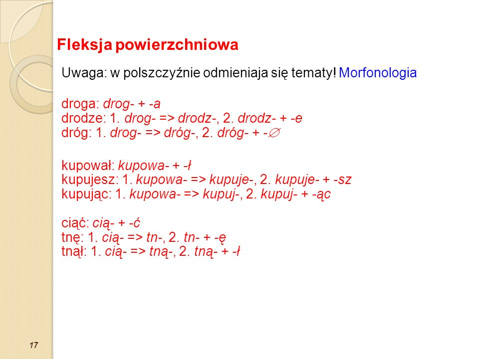 17 Uwaga: w polszczyźnie odmieniaja się tematy! Morfonologia droga: drog- + -a drodze: 1. drog- => drodz-, 2. drodz- + -e dróg: 1. drog- => dróg-, 2.