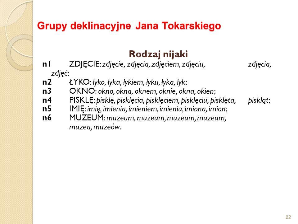 22 Grupy deklinacyjne Jana Tokarskiego Rodzaj nijaki n1 ZDJĘCIE: zdjęcie, zdjęcia, zdjęciem, zdjęciu, zdjęcia, zdjęć; n2ŁYKO: łyko, łyka, łykiem, łyku