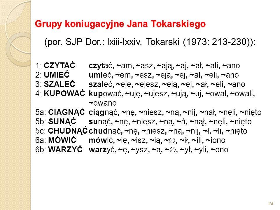 24 Grupy koniugacyjne Jana Tokarskiego (por. SJP Dor.: lxiii-lxxiv, Tokarski (1973: 213-230)): 1:CZYTAĆczytać, ~am, ~asz, ~ają, ~aj, ~ał, ~ali, ~ano 2