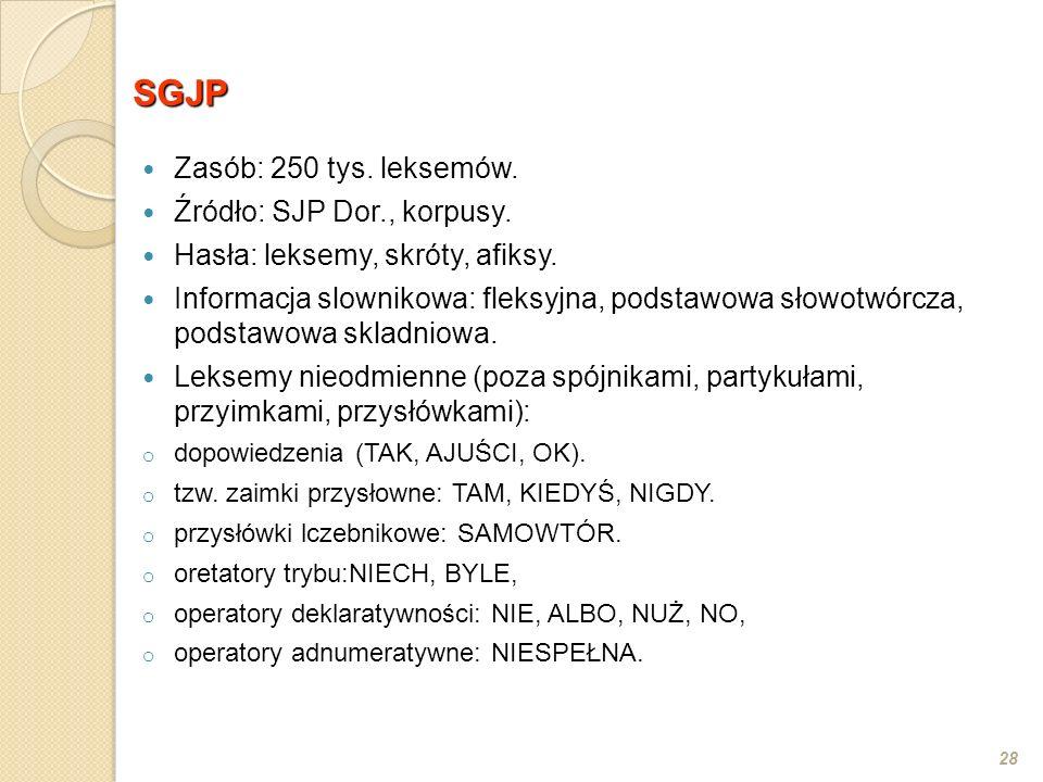28 SGJP Zasób: 250 tys. leksemów. Źródło: SJP Dor., korpusy. Hasła: leksemy, skróty, afiksy. Informacja slownikowa: fleksyjna, podstawowa słowotwórcza