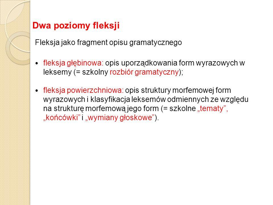 Fleksja jako fragment opisu gramatycznego fleksja głębinowa: opis uporządkowania form wyrazowych w leksemy (= szkolny rozbiór gramatyczny); fleksja po