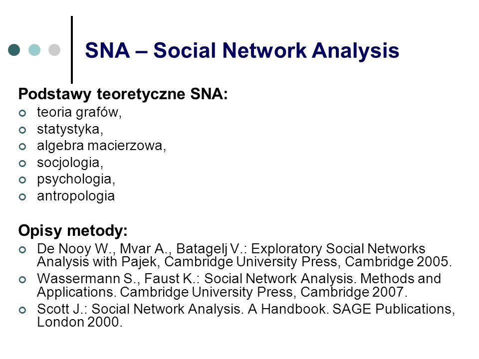 SNA – Social Network Analysis Podstawy teoretyczne SNA: teoria grafów, statystyka, algebra macierzowa, socjologia, psychologia, antropologia Opisy met