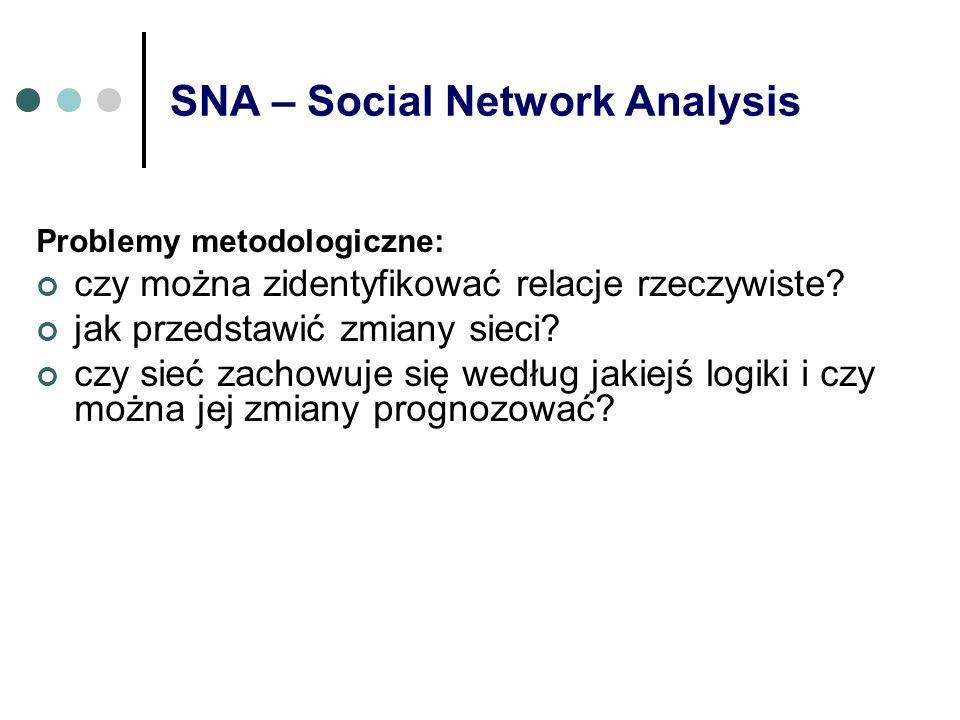 SNA – Social Network Analysis Problemy metodologiczne: czy można zidentyfikować relacje rzeczywiste? jak przedstawić zmiany sieci? czy sieć zachowuje
