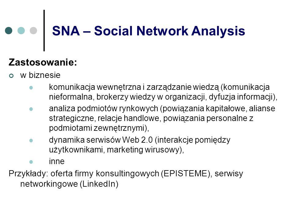 SNA – Social Network Analysis Zastosowanie: w biznesie komunikacja wewnętrzna i zarządzanie wiedzą (komunikacja nieformalna, brokerzy wiedzy w organiz