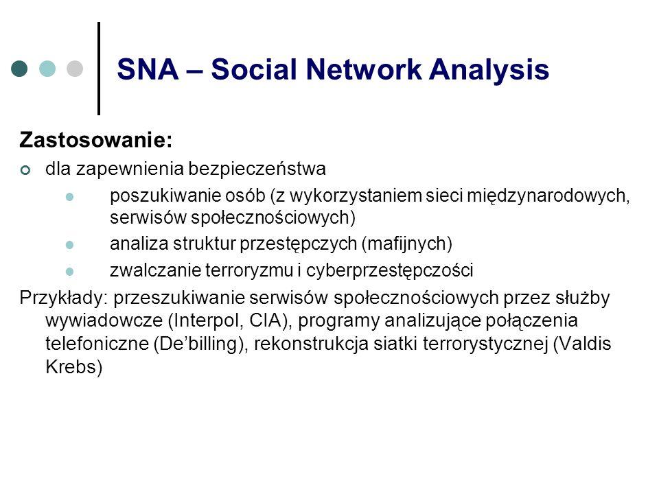 SNA – Social Network Analysis Zastosowanie: dla zapewnienia bezpieczeństwa poszukiwanie osób (z wykorzystaniem sieci międzynarodowych, serwisów społec