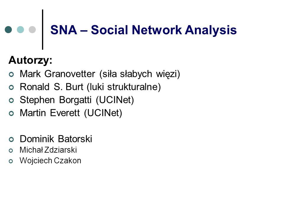 SNA – Social Network Analysis Autorzy: Mark Granovetter (siła słabych więzi) Ronald S. Burt (luki strukturalne) Stephen Borgatti (UCINet) Martin Evere