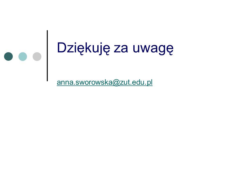 Dziękuję za uwagę anna.sworowska@zut.edu.pl
