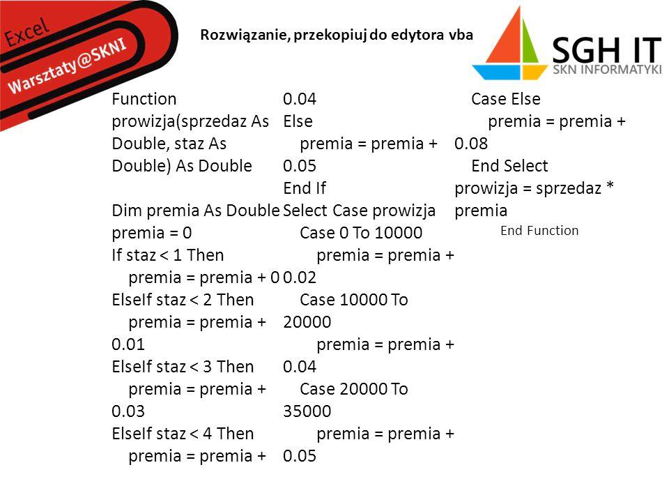 Function prowizja(sprzedaz As Double, staz As Double) As Double Dim premia As Double premia = 0 If staz < 1 Then premia = premia + 0 ElseIf staz < 2 Then premia = premia + 0.01 ElseIf staz < 3 Then premia = premia + 0.03 ElseIf staz < 4 Then premia = premia + 0.04 Else premia = premia + 0.05 End If Select Case prowizja Case 0 To 10000 premia = premia + 0.02 Case 10000 To 20000 premia = premia + 0.04 Case 20000 To 35000 premia = premia + 0.05 Case Else premia = premia + 0.08 End Select prowizja = sprzedaz * premia End Function Rozwiązanie, przekopiuj do edytora vba