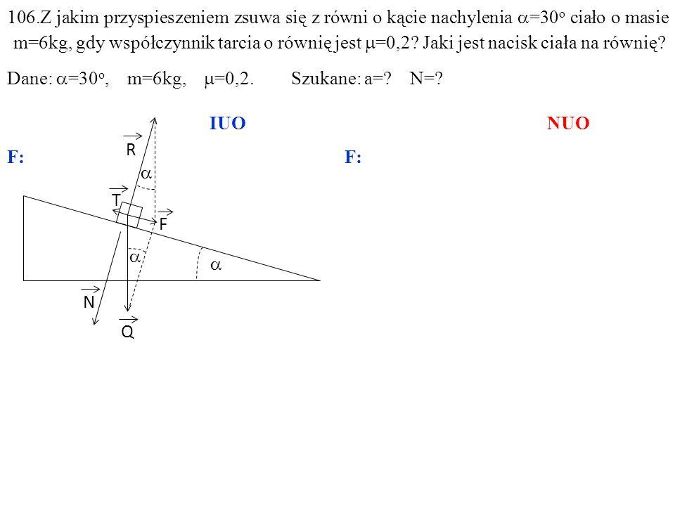 T Q N R F ma=F–T, gdzie:F=Qsin =mgsin, N=Qcos =mgcos, T= F N = Qcos = mgcos.
