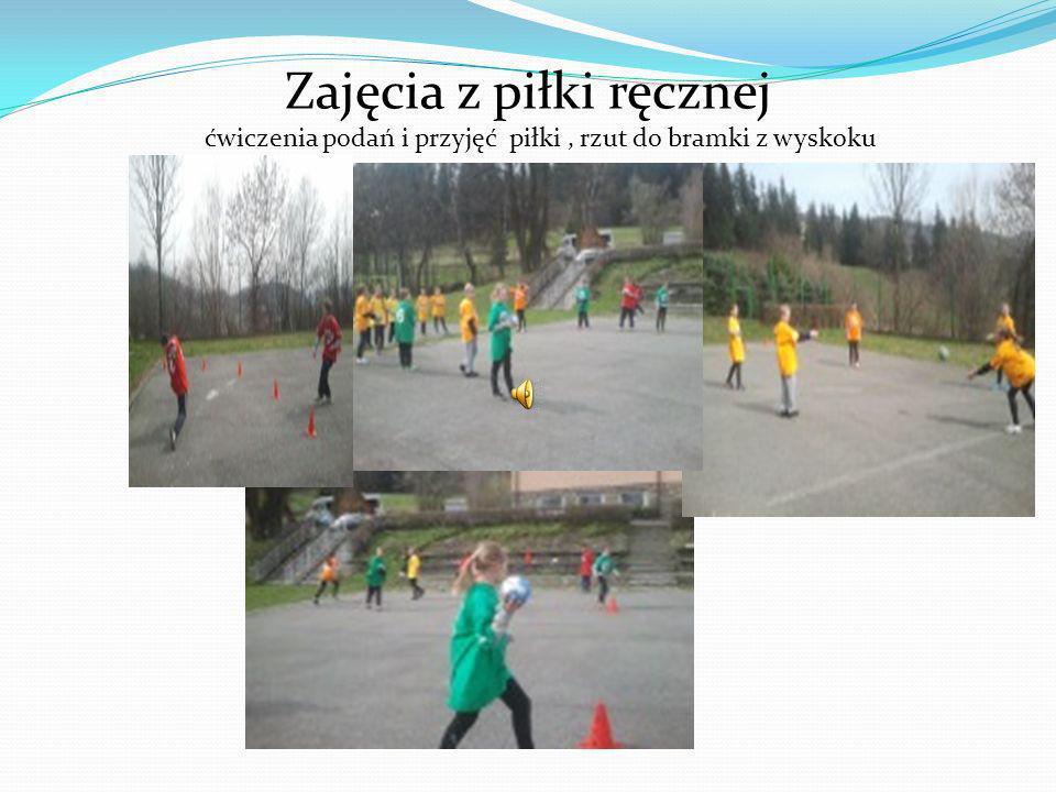 Zajęcia z piłki ręcznej ćwiczenia podań i przyjęć piłki, rzut do bramki z wyskoku
