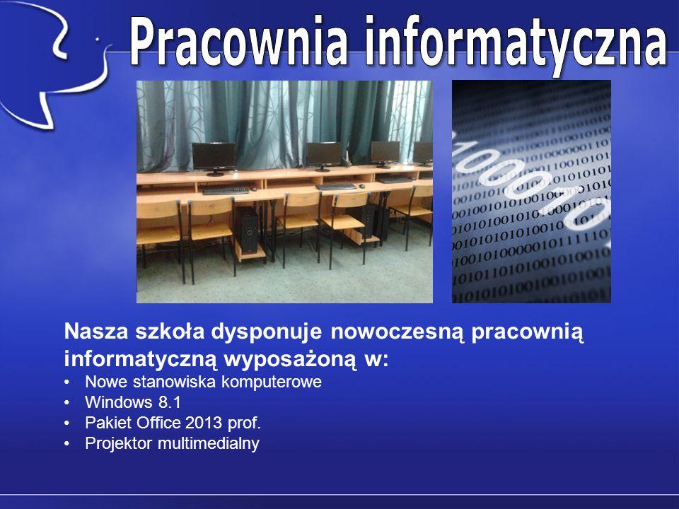 Nasza szkoła dysponuje nowoczesną pracownią informatyczną wyposażoną w: Nowe stanowiska komputerowe Windows 8.1 Pakiet Office 2013 prof.