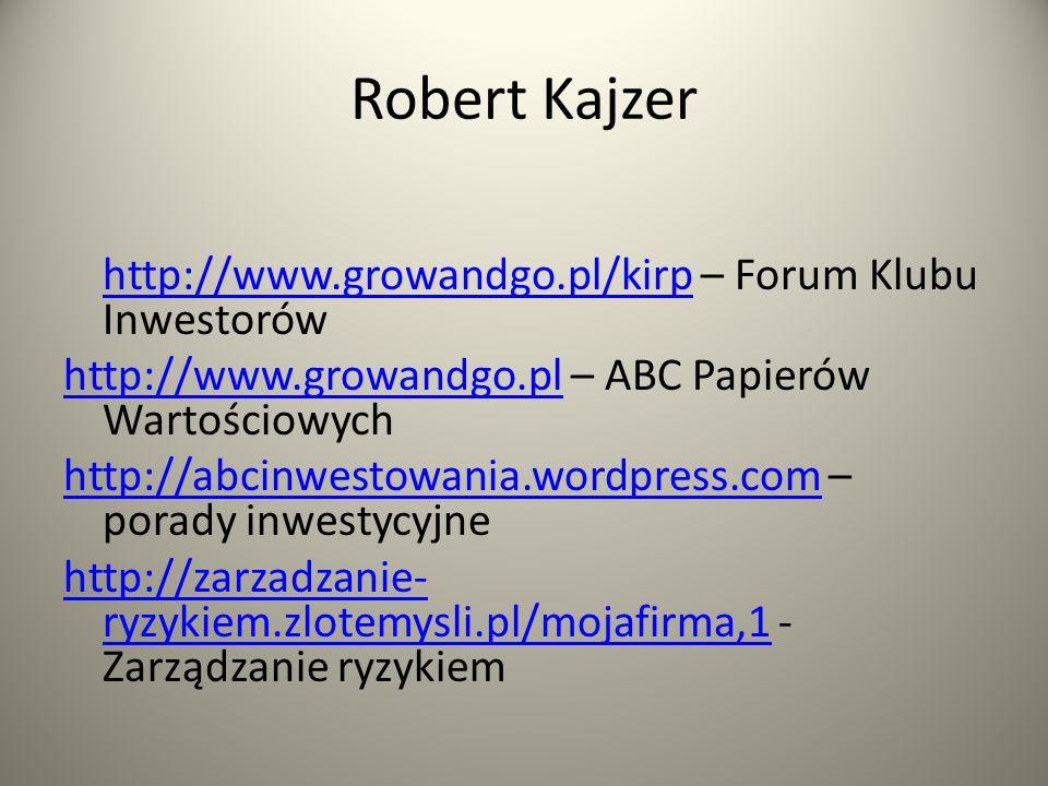 Robert Kajzer http://www.growandgo.pl/kirphttp://www.growandgo.pl/kirp – Forum Klubu Inwestorów http://www.growandgo.plhttp://www.growandgo.pl – ABC Papierów Wartościowych http://abcinwestowania.wordpress.comhttp://abcinwestowania.wordpress.com – porady inwestycyjne http://zarzadzanie- ryzykiem.zlotemysli.pl/mojafirma,1http://zarzadzanie- ryzykiem.zlotemysli.pl/mojafirma,1 - Zarządzanie ryzykiem