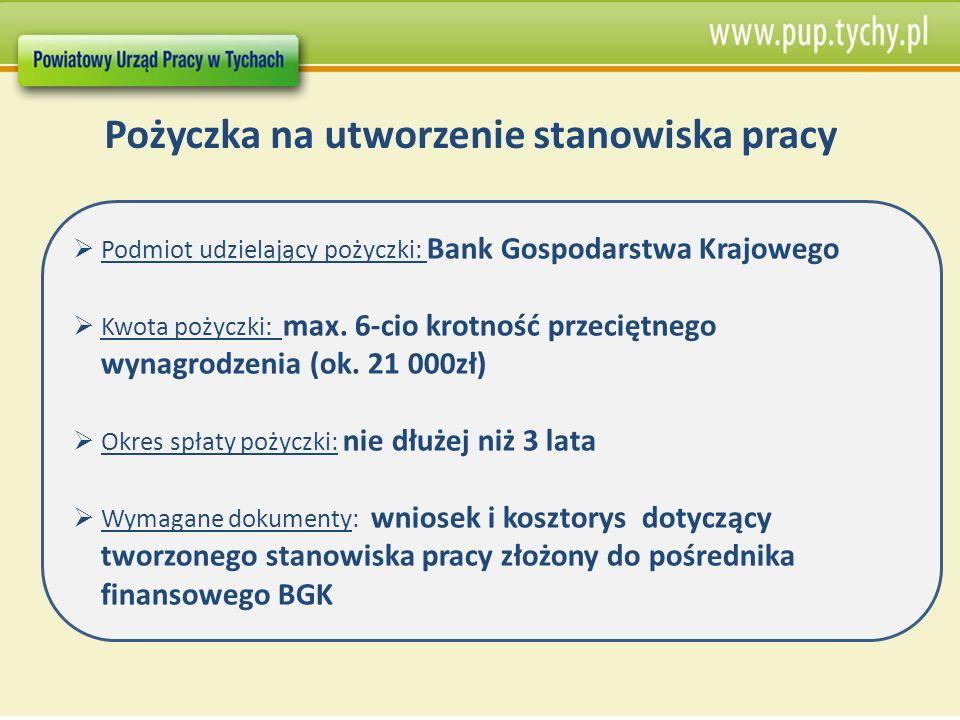 Pożyczka na utworzenie stanowiska pracy Podmiot udzielający pożyczki: Bank Gospodarstwa Krajowego Kwota pożyczki: max. 6-cio krotność przeciętnego wyn