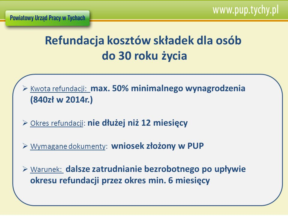 Refundacja kosztów składek dla osób do 30 roku życia Kwota refundacji: max. 50% minimalnego wynagrodzenia (840zł w 2014r.) Okres refundacji: nie dłuże