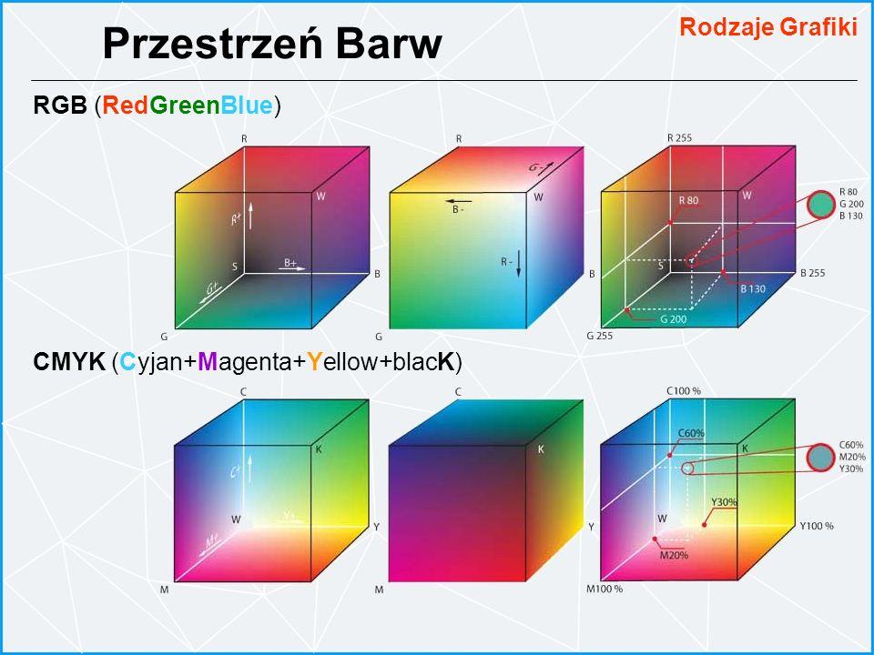 RGB (RedGreenBlue) CMYK (Cyjan+Magenta+Yellow+blacK) Przestrzeń Barw Rodzaje Grafiki