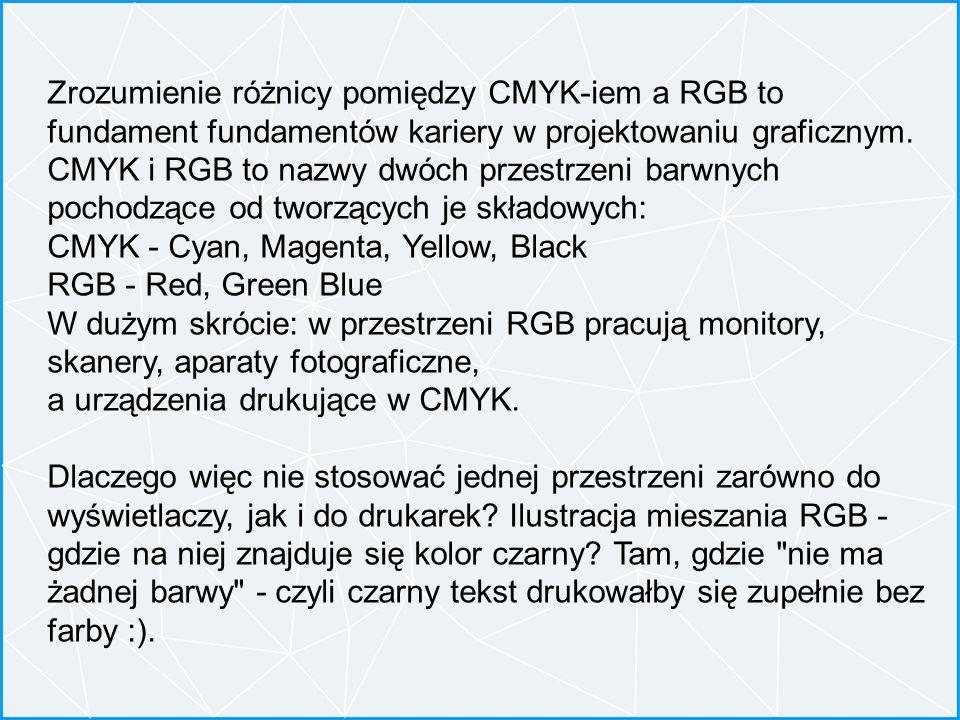 Zrozumienie różnicy pomiędzy CMYK-iem a RGB to fundament fundamentów kariery w projektowaniu graficznym. CMYK i RGB to nazwy dwóch przestrzeni barwnyc