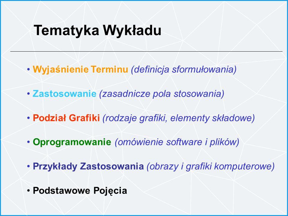 Tematyka Wykładu Wyjaśnienie Terminu (definicja sformułowania) Zastosowanie (zasadnicze pola stosowania) Podział Grafiki (rodzaje grafiki, elementy sk