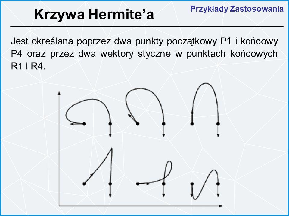 Jest określana poprzez dwa punkty początkowy P1 i końcowy P4 oraz przez dwa wektory styczne w punktach końcowych R1 i R4. Krzywa Hermitea Przykłady Za