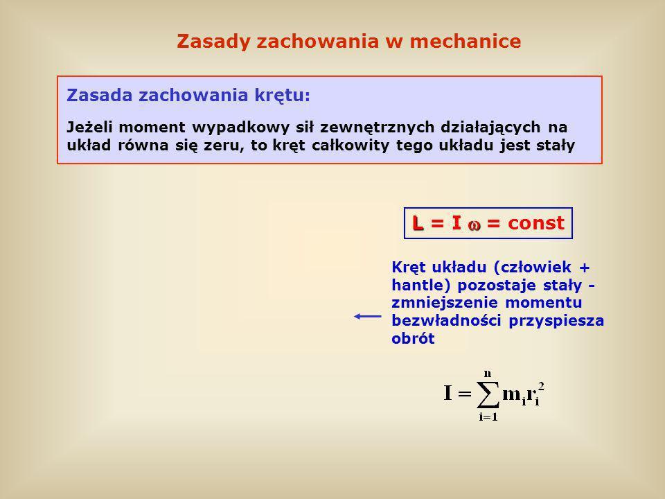Zasady zachowania w mechanice Zasada zachowania krętu: Jeżeli moment wypadkowy sił zewnętrznych działających na układ równa się zeru, to kręt całkowit