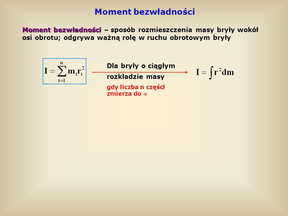 Twierdzenie Steinera Twierdzenie Steinera pozwala obliczyć moment bezwładności względem dowolnej osi, nie przechodzącej przez środek masy bryły Moment bezwładności bryły I względem dowolnej osi jest równy sumie momentu bezwładności I 0 względem osi równoległej przechodzącej przez środek masy bryły oraz iloczynu masy tej bryły i kwadratu odległości a obu osi Moment bezwładności bryły I względem dowolnej osi jest równy sumie momentu bezwładności I 0 względem osi równoległej przechodzącej przez środek masy bryły oraz iloczynu masy tej bryły i kwadratu odległości a obu osi I = I 0 + ma 2 S – środek masy bryły ° ° SO a I0I0 I a I 0 I Przykład kuli: